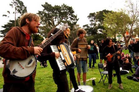 Folk/Punk Band outside Book Fair